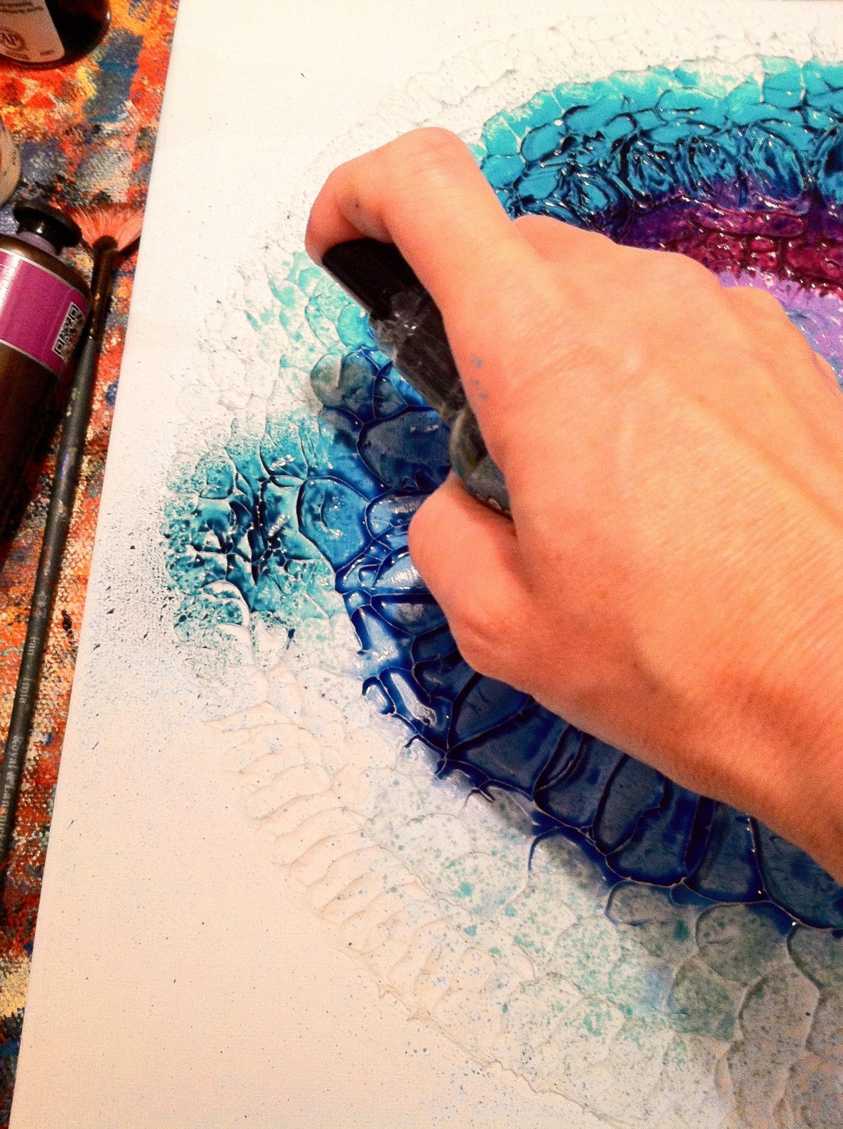 spraying ink