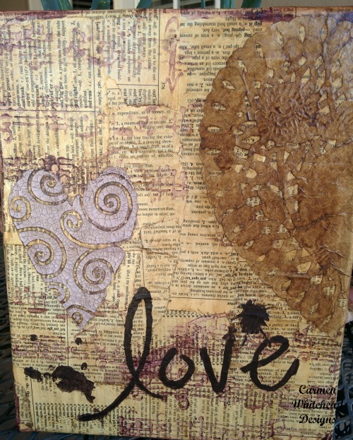Vintage Love Heart canvas created for The Crafter's Workshop by www.carmenwhitehead.com
