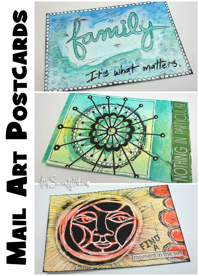 Mail Art Postcards using stencils from The Crafter's Workshop • AtopSerentityHill.com #mailart #stencils #mixedmedia