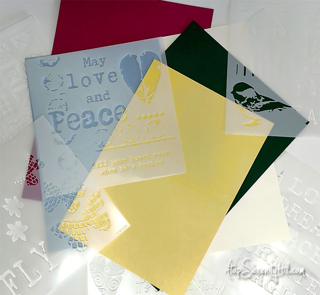 All Occasion Greeting Cards featuring stencils from The Crafter's Workshop • AtopSerenityHill.com #greetingcards #stencils #mixedmedia