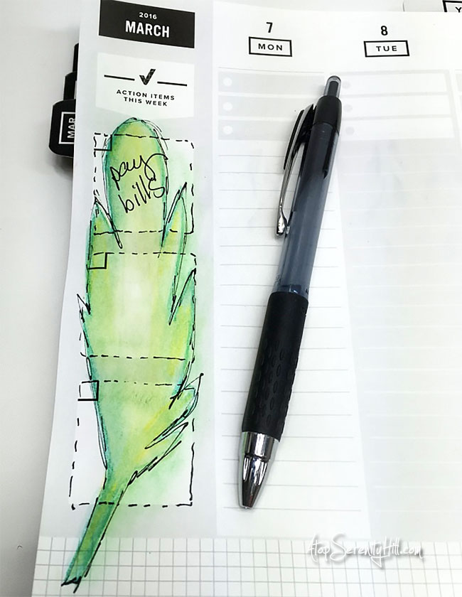 Using The Crafter's Workshop stencils to decorate my planner • AtopSerenityHill.com #stencils #planner #organize