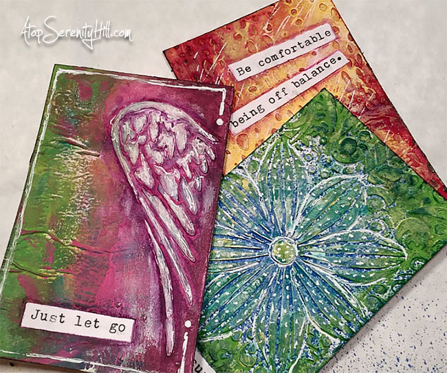 Inspiration cards featuring stencils from The Crafter's Workshop • AtopSerenityHill.com #stencils #mixedmedia #artjournaling