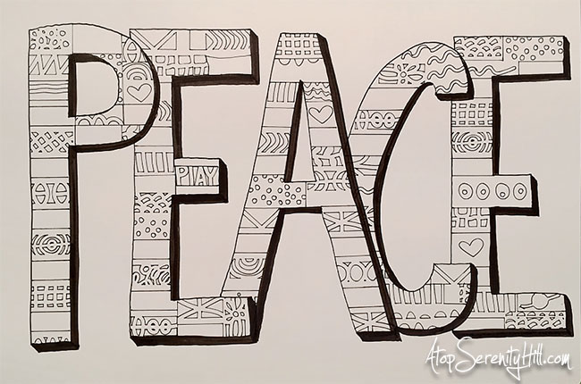 Peace: a doodled art journal page using the Doodle Borders stencil from The Crafter's Workshop • AtopSerenityHill.com #stencils #doodling #artjournal