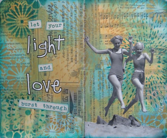 A journal spread by Nancy Lefko featuring TCW stencils and celebrating spring