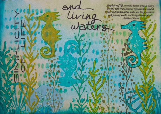 Art journal page features TCW stencils , hand-carved stamps and lettering