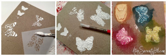 Textured butterfly planner clips or placemarkers using stencils from The Crafter's Workshop • AtopSerenityHill.com #planner #stencils #bookmarks