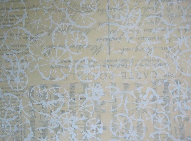 Citrus montage stencil design on journal page background