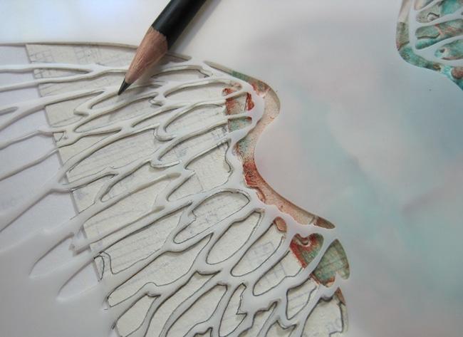 Traced angel wings TCW stencil LEFKO