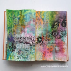 Art Journal Spread created by guest blogger, Mou Saha from colorhappycreations.com