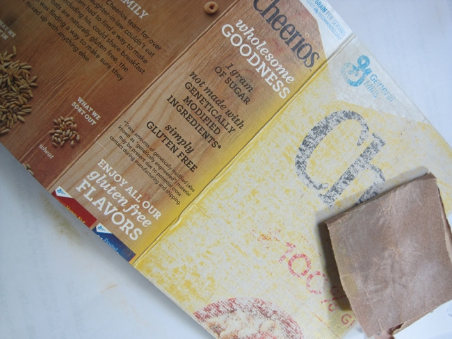 Cut cereal box into size for journal and sand off gloss finish Nancy Lefko