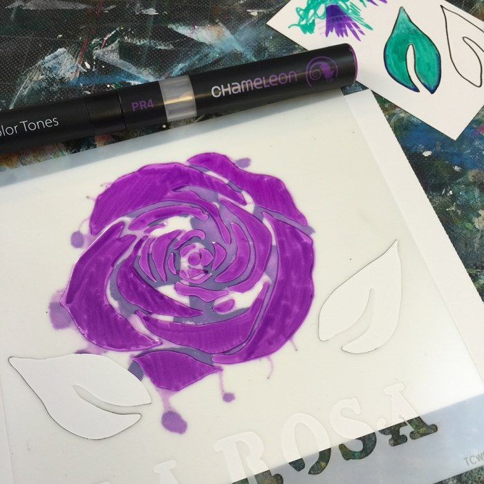 Purple Grape PR4 marker and La Rosa Stencil