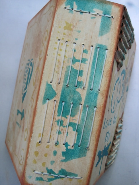Finished journal spine decorated with TCW stencils Nancy Lefko