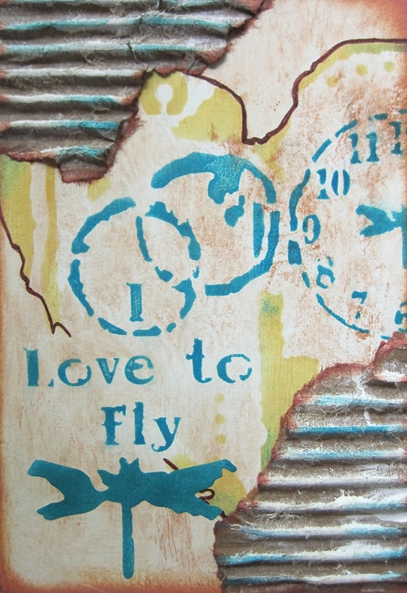 Finished art journal cover with stenciled designs and embellishments Nancy Lefko