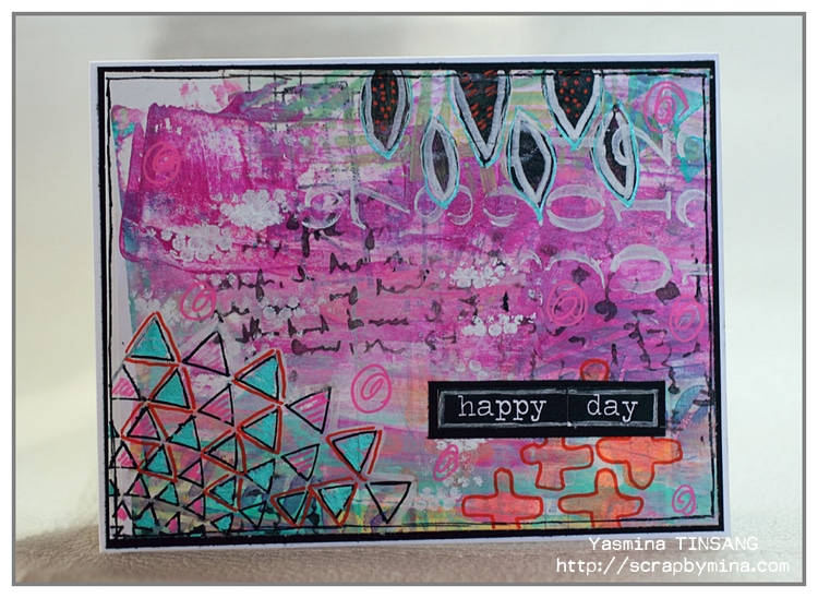 "@mina974 Abstract mixed media card with mini TCW stencils (6x6"")"