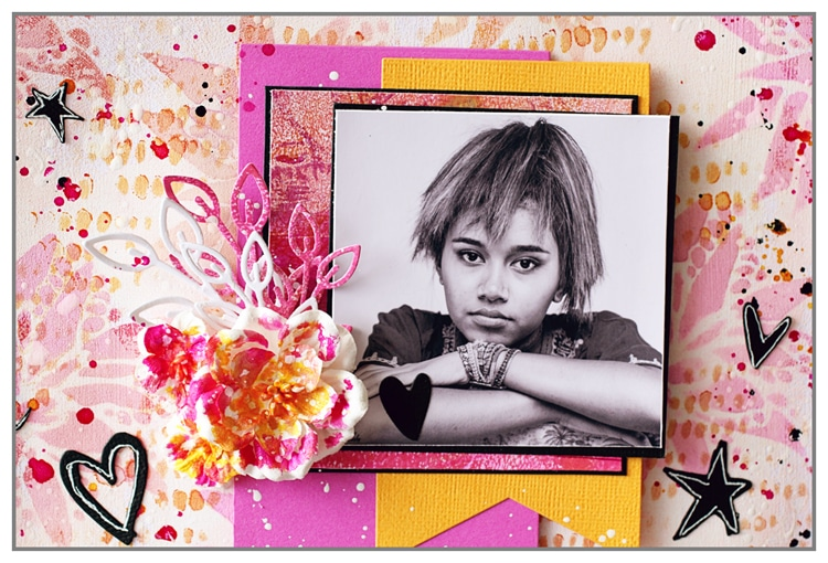 Mixed Media layout by Yasmina TINSANG with TCW stencils for the background