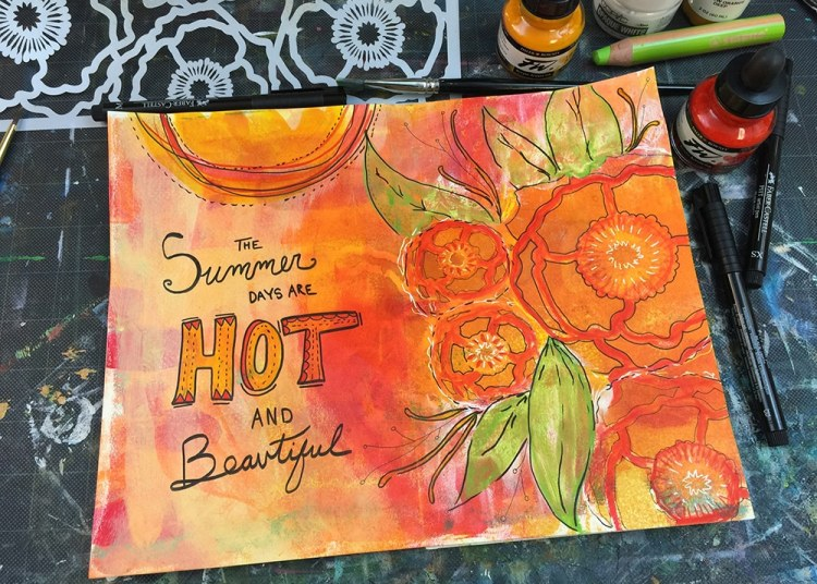 Finished Art Journal Spread with Hand Lettering and final detail work by Tori Weyers