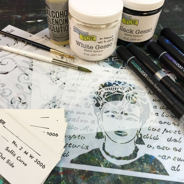 Gesso, stencils, tags, and more for my Frida Kahlo mini book.