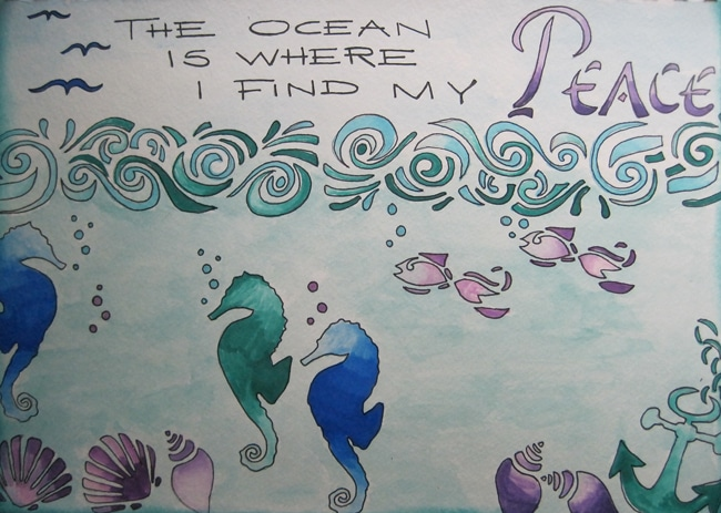 Finished art journal page with TCW stencils and Chameleon pens Nancy Lefko