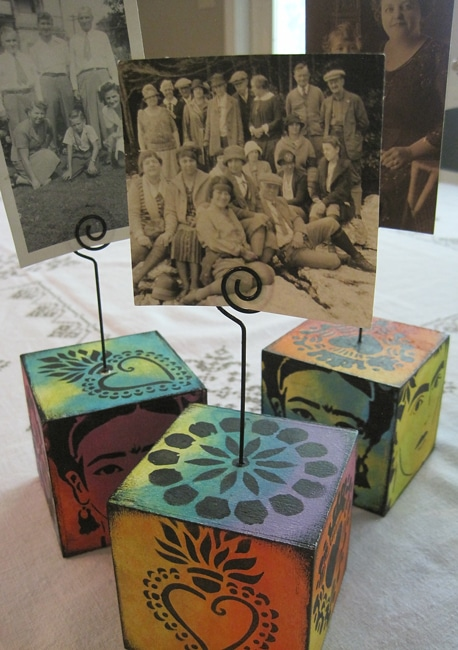 Finished photo cubes with acrylic paint and TCW stencils Lefko