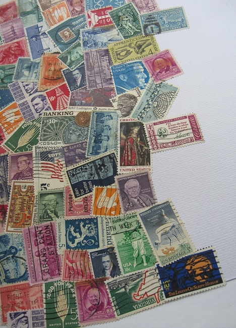 Vintage stamps to cover background for TCW stencil project Lefko