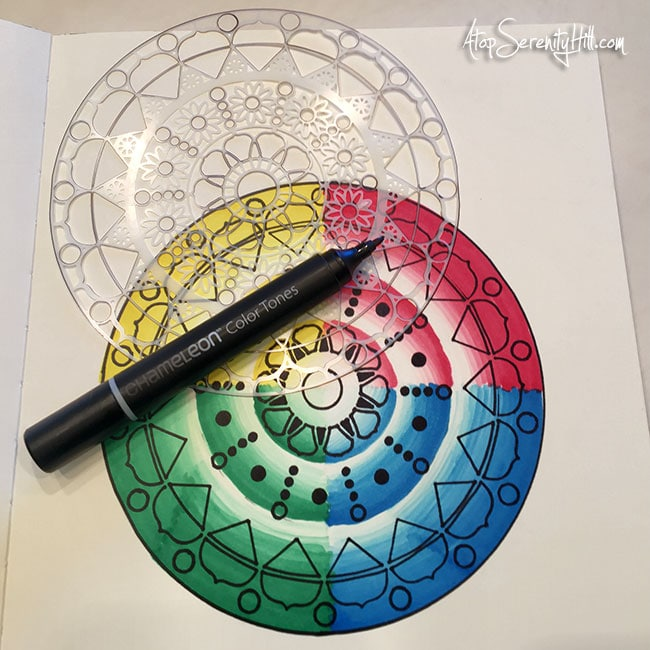 Creating mandalas with Chameleon Pens and The Crafter's Workshop stencils • AtopSerenityHill.com #chameleonpens #stencil #mandala