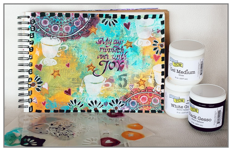 Art Journal page using new mediums and Summer 2016 Stencils from The Crafter's Workshop