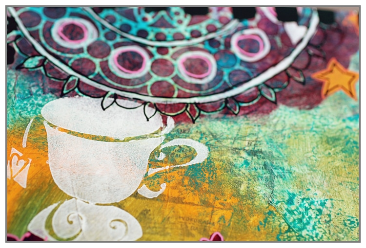 New stencils for the Summer 2016 collection used in an art journal page by Yasmina