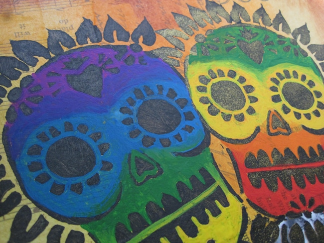 Gouache paints to color sugar skulls TCW653s. Lefko