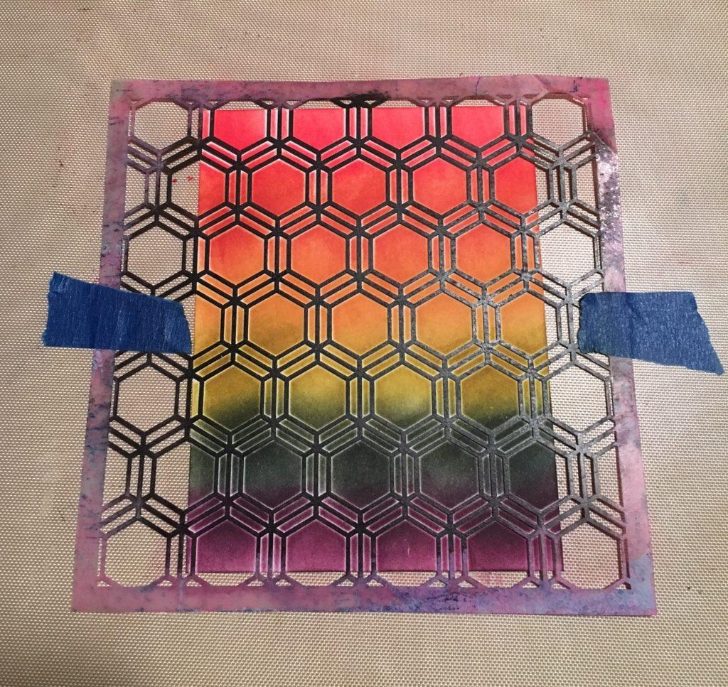 Kim Schofield, CAScard, Finished Stencilng, TCW346 Honeycomb