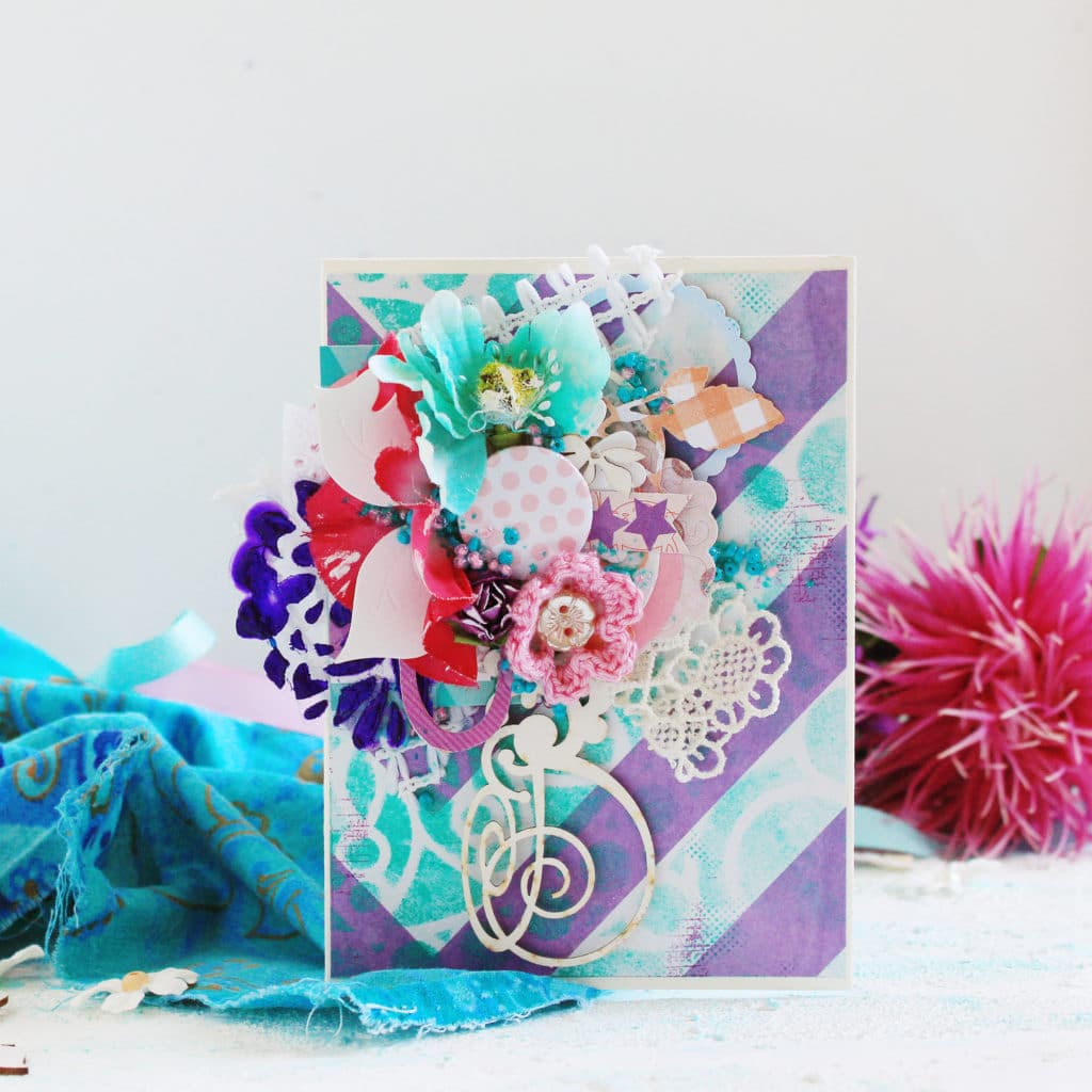 purple card with flowers