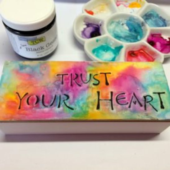 Black gesso, watercolours, The Crafter's Workshop stencil