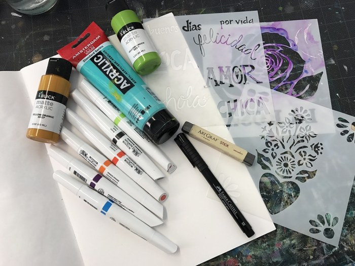 Art Supplies! Acrylic paint, markers and stencils!