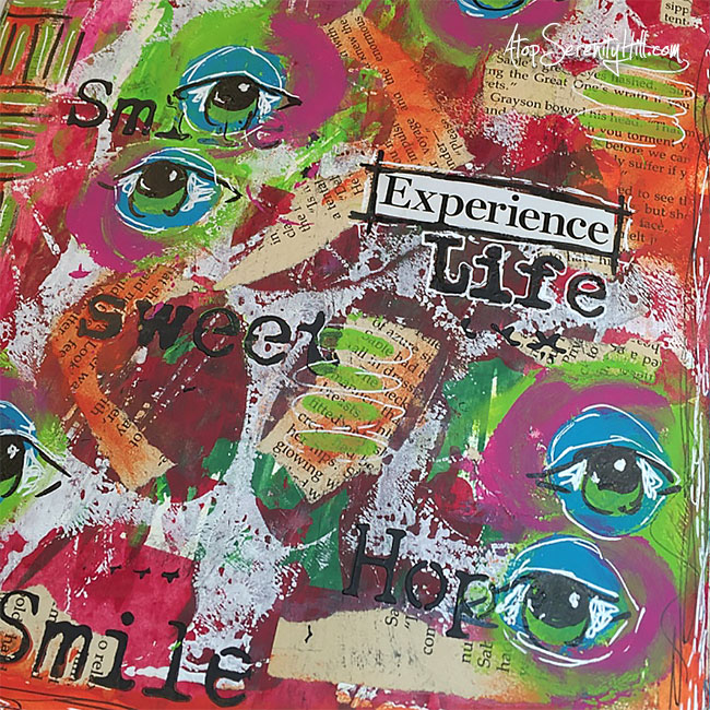 Art journaling using stencils from The Crafter's Workshop • AtopSerenityHill.com #stencil #artjournal #mixedmedia