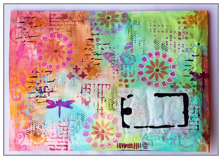 Mail Art using various TCW stencils and Dina Wakley acrylic paint