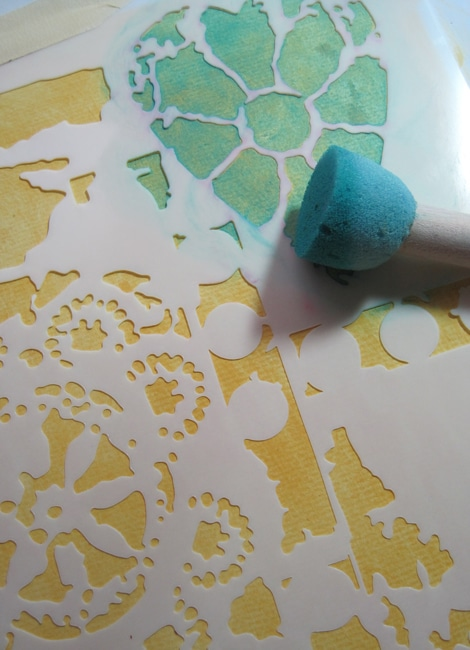 TCW629 stencil with aqua, citron and mustard paint LEFKO
