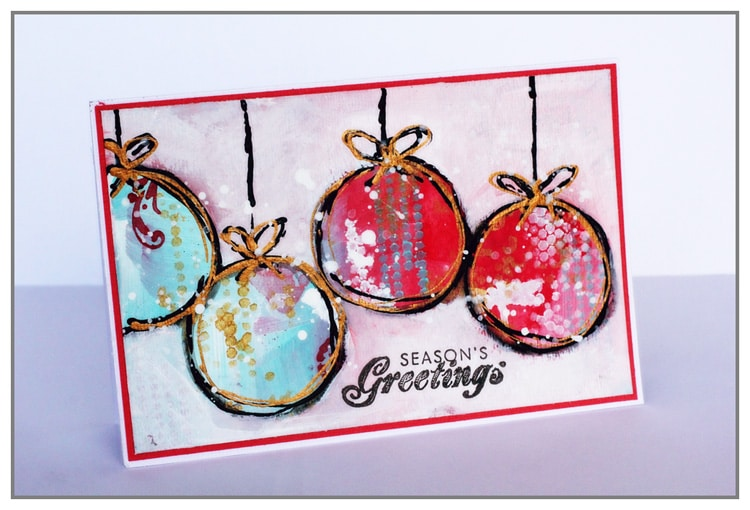 Christmas Card by Yasmina TINSANG in Mixed Media Style with The Crafters Workshop stencils and Acrylic Paint