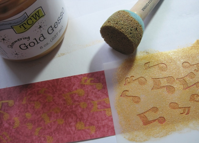 TCW2156 gold gesso on paper strip LEFKO