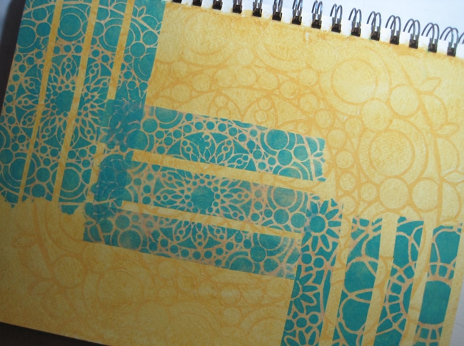 Stenciled strips on journal page background LEFKO