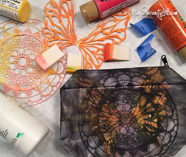 Butterfly painted zippered pouch using stencils from The Crafter's Workshop • AtopSerenityHill.com