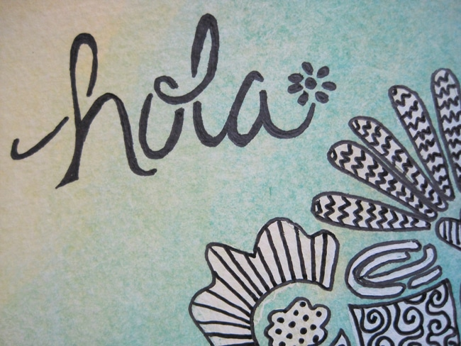 Hola message with Mini Chica Words stencil TCW650S