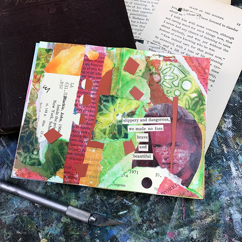 Finished glue book Spread in Green and Red