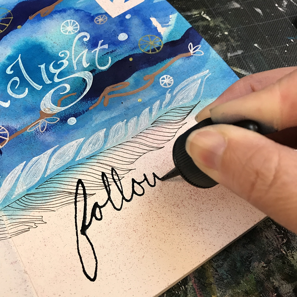 Hand lettering with Higgins India Ink