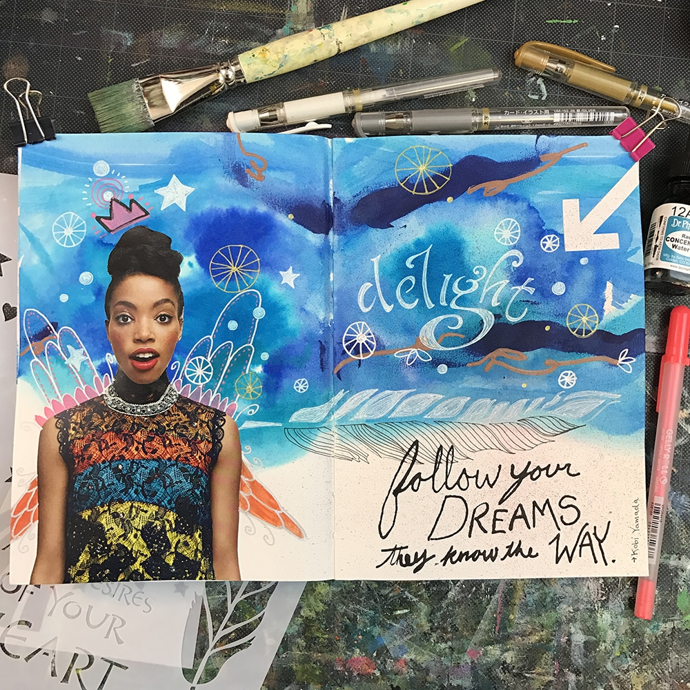 Finished art journal spread by Tori Weyers