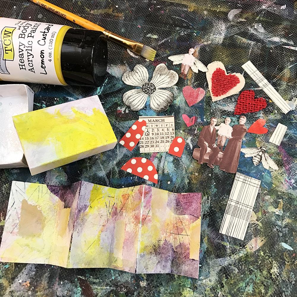 Bits and Pieces plus some Lemon Custard Acrylic Paint