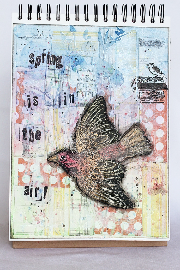 Art journal about spring using TCW products and CCB products