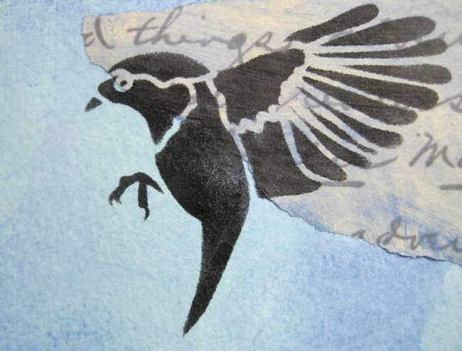 TCW684s bird gathering stencil with ink LEFKO
