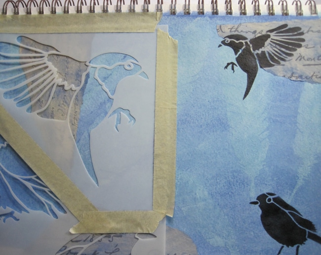 TCW684 and 684s bird gathering stencil and ink LEFKO