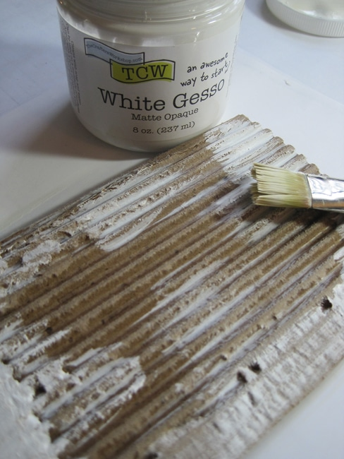 Apply TCW white gesso to cardboard LEFKO