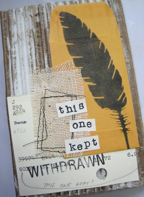 TCW716s stencil and collaged elements on journal page LEFKO