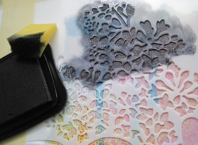 Staz-on ink on TCW669 stencil with foam applicator LEFKO